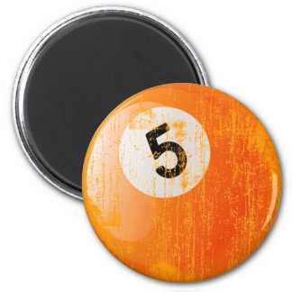 NUMBER 5 BILLIARDS BALL - ERODED AND AGED STYLE MAGNET