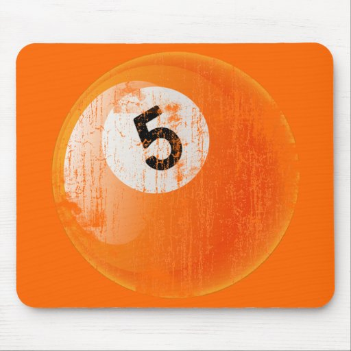 NUMBER 5 BILLIARDS BALL - ERODED AND AGED STYLE MOUSE PAD