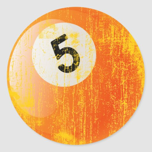 NUMBER 5 BILLIARDS BALL - ERODED AND AGED STYLE ROUND STICKER