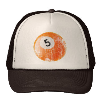 NUMBER 5 BILLIARDS BALL - ERODED AND AGED STYLE TRUCKER HAT