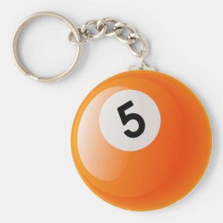 NUMBER 5 BILLIARDS BALL BASIC ROUND BUTTON KEYCHAIN