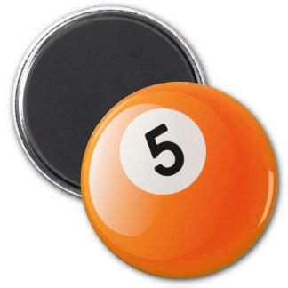 NUMBER 5 BILLIARDS BALL MAGNET