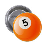 NUMBER 5 BILLIARDS BALL PINBACK BUTTON