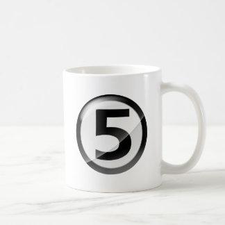 Number 5 black coffee mug