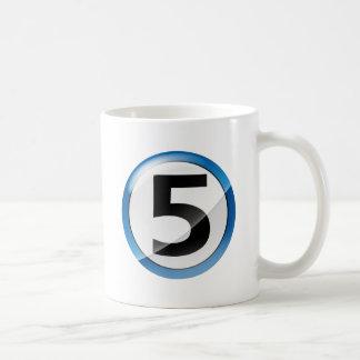 Number 5 blue coffee mug