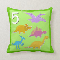 Number 5 Dinosaurs Numbers 1 - 10 Counting Throw Pillow