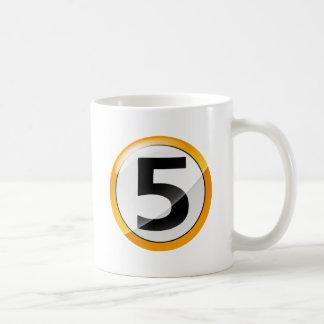 Number 5 gold coffee mug