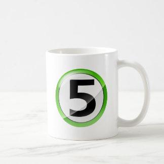 Number 5 green coffee mug