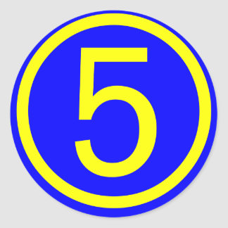 number 5 in a circle, blue background classic round sticker