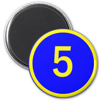 number 5 in a circle magnet