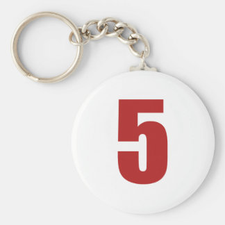 Number 5  in red on white button keychain