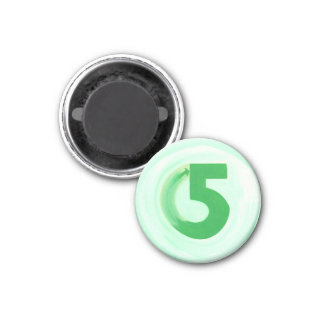 Number 5 magnet with green