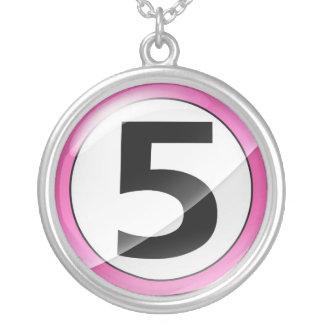 Number 5 pink necklace