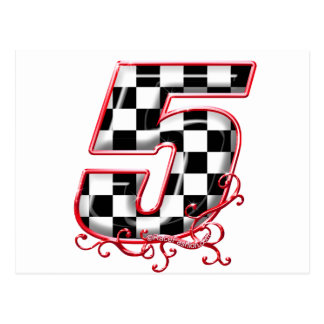 Number 5 racing number postcard