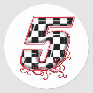 number 5 red classic round sticker