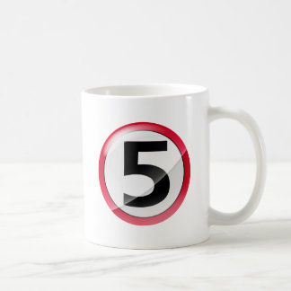 Number 5 red coffee mug