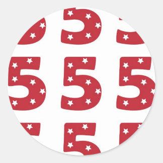 Number 5 - White Stars on Dark Red Classic Round Sticker