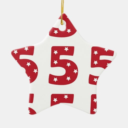 Number 5 - White Stars on Dark Red Christmas Tree Ornament