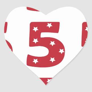 Number 5 - White Stars on Dark Red Heart Stickers
