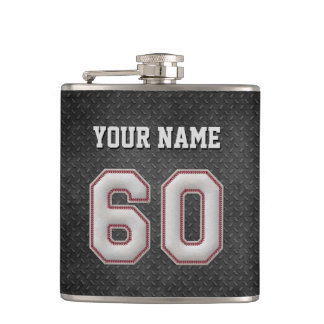 Number 60 Baseball Stitches with Black Metal Look Flask