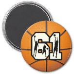 Number 61 Basketball Fridge Magnet