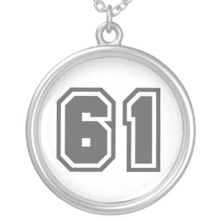 Number 61 round pendant necklace