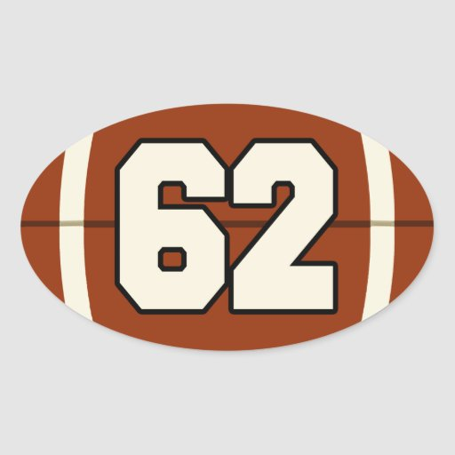 Number 62 Football Sticker | Zazzle