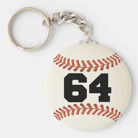 Number 64 Baseball Keychain