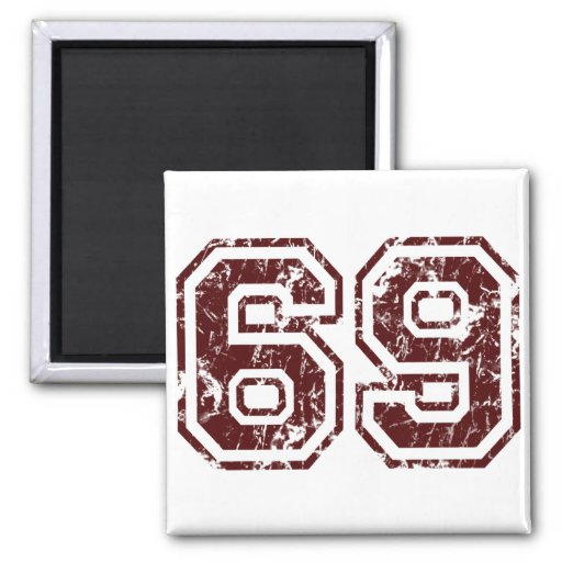 Number 69 2 inch square magnet