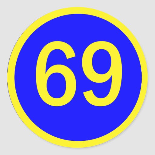 number, 69, in a circle stickers | Zazzle