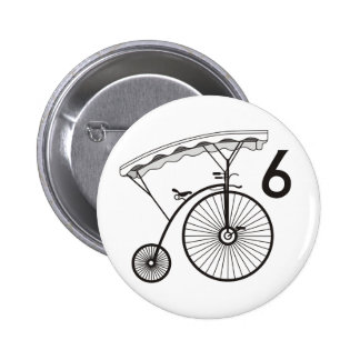 Number 6 Badge 2 Inch Round Button