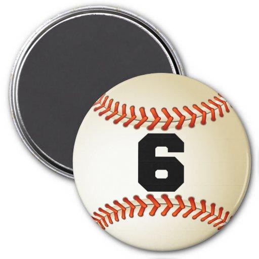 Number 6 Baseball Magnet