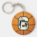 Number 6 Basketball and Players Basic Round Button Keychain