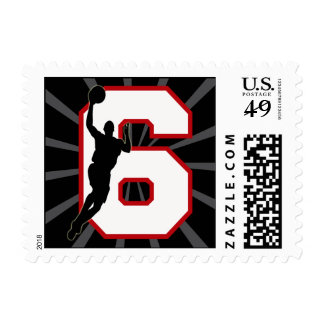 NUMBER 6 BASKETBALL PLAYER POSTAGE STAMPS