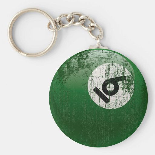 NUMBER 6 BILLIARDS BALL - ERODED STYLE KEY CHAIN