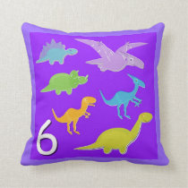 Number 6 Dinosaurs Numbers 1 - 10 Counting Throw Pillow