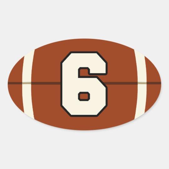 Number 6 Football Sticker