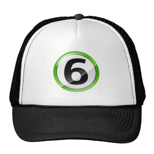 Number 6 green trucker hat