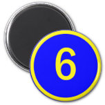 number 6 in a circle refrigerator magnet
