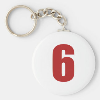 Number 6  in red on white button keychain