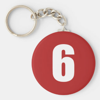 Number 6  in white on red button keychain