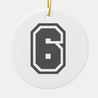Number 6 Double-Sided ceramic round christmas ornament