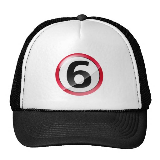 Number 6 red trucker hat
