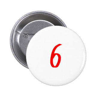 Number 6 six red color buttons