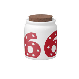 Number 6 - White Stars on Dark Red Candy Jars