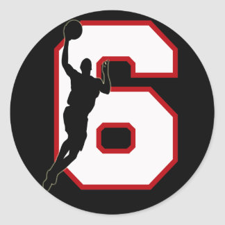 NUMBER 6 WITH BASKETBALL PLAYER CLASSIC ROUND STICKER