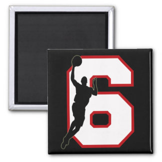 NUMBER 6 WITH BASKETBALL PLAYER MAGNET
