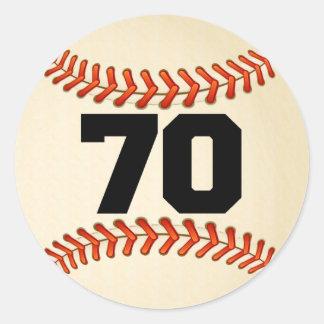 Number 70 Baseball Classic Round Sticker