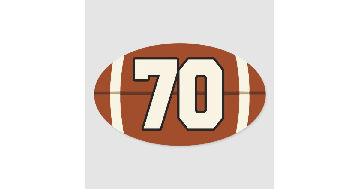 Number 70 Football Sticker