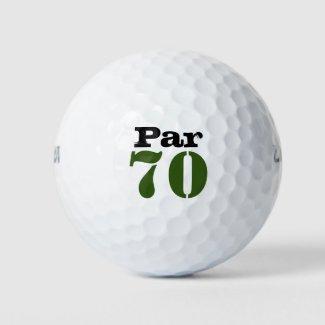 Number 70 par golf course for 70th birthday golfer golf balls
